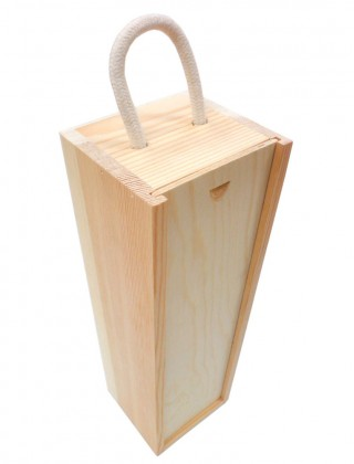 Single bottle wooden wine box