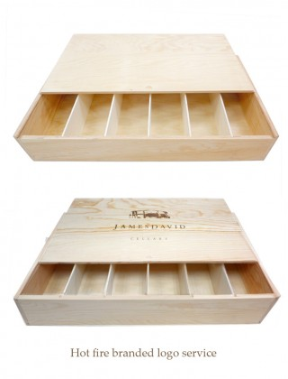 Six bottles wooden wine box