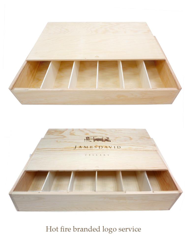 Six bottles wooden wine box